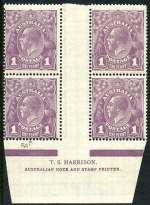 1922 1d Violet Single Wmk KGV Harrison imprint block of 4 with