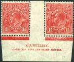 1926 1�d Red Small Multiple Wmk perf 14 KGV Plate 1a Mullett imprint pair MLH. 3 faint tone spots hardly detract from this very scarce imprint. ACSC 91(1a)za.