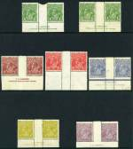 1924-26 1d Green Harrison and Mullett imprints, 1�d Red No imprint, 2d Red-Brown Harrison imprint, 3d Blue Type A and B Plate 3 Mullett imprint, 4d Olive Harrison imprint and 4�d Violet Harrison Single Wmk KGV imprint pairs MLH. 4�d with Break in left frame variety and imprint slightly shaved. ACSC 77(3)za and zb, 89zb, 97z, 105z, 114(3)z and 118zb.