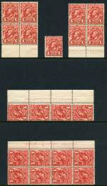 1913 1d Red Engraved KGV MUH (28). Includes Plate 4 left side imprint block of 8 with Re-entry down right side variety and lightly creased on 2 units. ACSC 59(4)zb.
