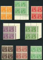 1914-24 �d Green, �d Orange, 1d Red Die I, 1d Violet, 1d Green, 1�d Black-Brown, 1�d Brown, 1�d Green, 1�d Red, 2d Orange, 2d Red, 2d Red-Brown, 4d Orange, 4d Violet, 4d Blue, 4d Olive, 4�d Violet and 5d Chestnut Single Wmk KGV in blocks of 4 mixed MUH and MLH. �d Green with part Harrison one-line