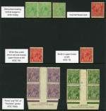 1915-24 �d Green (3), 1d Red Die III (3), 1d Violet (6), 1d Green (9), 1�d Green (2), 1�d Red (28), 2d Red-Brown (4), 3d Blue (2), 4d Orange [thinned] and 4�d Violet Single Wmk KGV in singles, pairs and blocks with varieties mixed MUH and MLH. Noted 1d Red Die III Inverted Wmk, White flaw under emu's tail and shaved upper frame at left and Break in upper frame at left, 1d Violet Harrison imprint and 1d Green Mullett imprint blocks of 4 with