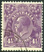 1931 4�d Violet Die II Small Multiple Wmk perf 13� KGV CTO with gum. Also 1931 2d and 3d Kingsford Smith O/P OS and 1932 2d and 3d Sydney Bridge O/P OS CTO without gum and well centered.