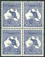 1913 2½d Indigo 1st Wmk Kangaroo well centered block of 4, hinged on 2 units and 2 units MUH. Reasonably centered, the hinged units with few short perfs.