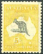 1918 5/- Grey and Yellow 3rd Wmk Kangaroo MLH and reasonably centered with short perf.
