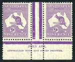 1929 6d Chestnut Ash (N over A) imprint pair MLH with short perf on right unit, 9d Violet Ash imprint pair MUH with creased corner on left unit and 1/- Emerald Ash (N over A) imprint pair MLH with light toning Small Multiple Wmk Kangaroos.