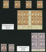 1932-45 6d Chestnut (12), 9d Violet (6), 2/- Maroon Die II (25) and Redrawn Die (10), 10/- Grey and Pink O/P Specimen Type D (2) and 6d Chestnut O/P OS block of 4 C of A Wmk Kangaroos mixed MUH and MLH including some varieties. Noted 6d Chestnut Ash imprint block of 8 with White hairline from value to map variety, 9d Violet Ash imprint Plate 3 First State block of 4 and range of 2/- Maroon Die II varieties in singles and blocks. Odd fault, but generally fine condition. High retail value.