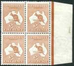 1913 5d Chestnut 1st Wmk Kangaroo marginal block of 4, hinged on left units, right units MUH. Reasonably centered, the top right unit with a few short perfs.