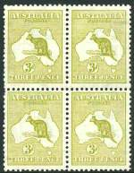 1913 3d Olive Die 1 1st Wmk Kangaroo block of 4, hinged on 3 units, lower right unit MUH. Reasonably centered, the left units with a few short perfs.