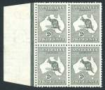 1913 2d Grey 1st Wmk Kangaroo marginal block of 4, hinged on right units and left units MUH. Reasonably well centered and few shortish perfs affecting 3 units.