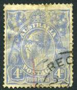 1922 4d Ultramarine Single Wmk Cooke Plate KGV with White flaw on King's temple unlocated variety fine used with heavy vertical crease and other faults. The ACSC states approximately 20 used examples have been reported. Rare. ACSC 112(U)d. Catalogue Value $1,250.00.