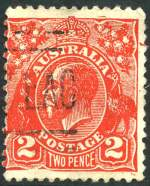 1932 2d Scarlet KGV Postal Forgery fine used. Has frame missing under 2, which positions it as No 17 on the printing block. Scarce.