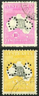 1917 10/- Grey and Deep Aniline Pink 3rd Wmk Kangaroo perf OS CTO without gum and a few blunt perfs. Also 1929 5/- Grey and Yellow Small Multiple Wmk Kangaroo with Spencer's Gulf Elongated