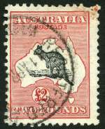 1932-35 10/- Grey and Pink, £1 Grey and £2 Grey-Black and Rose-Crimson C of A Wmk Kangaroos FU with perf faults.