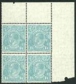 1932 1/4 Blue C of A Wmk KGV upper right corner block of 4 MUH, with varieties