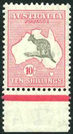 1932 10/- Grey and Pink C of A Wmk Kangaroo MUH lower marginal, copy centered low. Attractive.