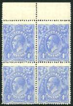 1922 4d Bright Ultramarine Single Wmk KGV MUH block of 4, centered to base.