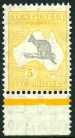 1932 5/- Grey and Yellow C of A Wmk Kangaroo MUH lower marginal copy, centered to lower right.
