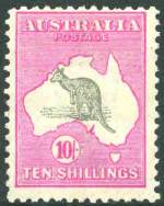 1917 10/- Grey and Pale Aniline Pink 3rd Wmk Kangaroo MLH and centered high with few shortish perfs.