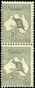 1915 2d Grey Die I 3rd Wmk Pre-Substituted cliché Kangaroo with an advanced state of additional spectacular variety