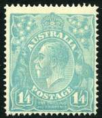 1920 1/4 Turquoise-Blue Single Wmk KGV MUH and centered to lower right.