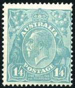 1928 1/4 Greenish-Blue Small Multiple Wmk perf 13� KGV MUH and centered to lower right.