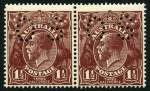 1919 1�d Brown Single Wmk pair perf OS with inverted Wmk MLH and centered to lower right.