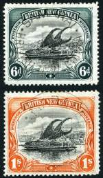 1901-05 6d Black and Myrtle-Green and 1/- Black and Orange Thick paper Vertical Wmk Lakatois VFU. Sg 14-15. Retail $275.00.