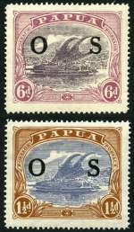 1931 1½d  Bright Blue and Brown and 6d Dull Purple and Red-Purple Lakatois O/P OS MLH, both with