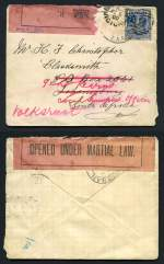 1900 (6th Aug) Cover from Geelong, stamped with 2½d Blue Queen Victorian issue addressed to Mr. H.F. Christopher, Blacksmith, Johannesburg, South Africa, with Pink