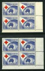 1954 3½d Red Cross lower right full Plate No 2 with dashes corner block of 4 MUH and centered to base. (5). ACSC 312ze.