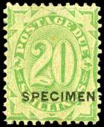 1902-04 20/- Dull Green Postage Due without strokes O/P Specimen MLH with tone spot on gum of one perf. The only way to fill this scarce stamp on a budget. Sg D44.