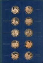 1970-75 Medallic History of Canada collection of 100 bronze, gold plated proof commemorative medals in two special albums issued by Wellings Mint Ltd. Albums with minor faults.