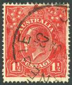 1924 1½d Scarlet Single Wmk KGV with Substituted cliché (deformed right frame) variety FU. ACSC 89(15)ib. Catalogue Value $750.00.