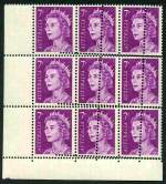 1971 7¢ Purple QEII lower left corner block of 9 with double vertical and horizontal perforations affecting all units MUH. Spectacular. ACSC 447be.