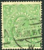 1915 ½d Green Single Wmk KGV good used with Crack through S.W. corner variety. Rare. ACSC 63(3)h. Catalogue Value $2,000.00.
