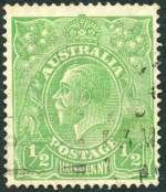 1915 ½d Green Single Wmk KGV FU with Crack through S.W. corner variety. Bent lower right corner. Rare. ACSC 63(3)h. Catalogue Value $2,000.00.