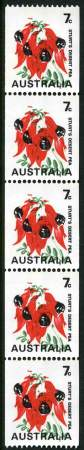 1971 7¢ Sturt's Desert Pea with Buff colour omitted and Green colour misplaced in MUH strip of 5. ACSC 535ce. Catalogue Value $1,500.00.