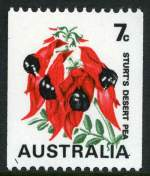 1971 7¢ Sturt's Desert Pea with Buff colour omitted and Green colour misplaced in MUH strip of 7. One unit with Top of