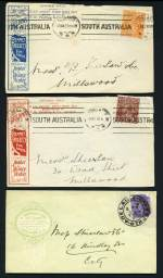 Selection of 28 mainly South Australian Company advertising cover fronts from 1904 to 1921 mainly stamped with KGV issues. Includes South Australian Caledonian Society franked with 2 ½d Green KGV, one with White flaw in right side of crown variety, F.H. Faulding & Co, Ibis Footwear Limited, Vardon's & Sons Ltd, W.M. Shakespeare & Co, Bedggood & Co, 3rd Light Horse and Barnet Glass Rubber Co Ltd.