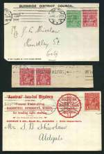 Selection of 17 cover fronts stamped with 1d Red KGV issues including Die II (7), varieties, company slogans and range of squared circle cancellations. Noted Dot before right