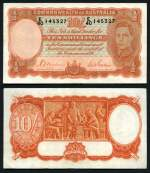 1939 10/- Sheehan/McFarlane Red Signature KGVI banknote gVF. Serial No E40 145327. McDonald 20. Catalogue Value $625.00.