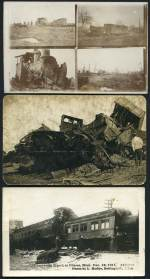 Selection of 24 earlier postcards featuring Railway accidents, derailments and disasters from Great Britain, Australia and other countries. Also 16 photographs of Railway disasters. Interesting range with some spectacular accidents.