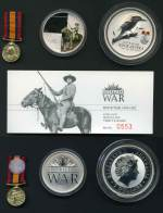 2003 Australians at War - Boer War 2oz Silver Proof coin, 1oz Boer War Medallion and miniature replica of the Queen's South Africa Medal in presentation case. Issue price $125.00.