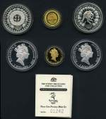 1997 Perth Mint Sydney 2000 Olympic Games $100 The Journey Begins Gold Proof coin (10.021 grams of .9999 Gold) and $5.00 Festival of the Dreaming and $5.00 Kangaroo and Grasstrees Silver Proof coins in presentation case. Issue Price $460.00.