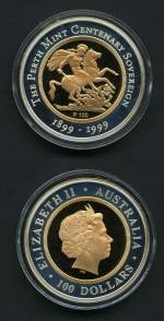 1999 $100.00 The Perth Mint Centenary Sovereign Gold proof coin with Silver border in timber presentation case.