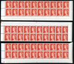 1966 4¢ Red QEII Helecon Paper Upper Plate No's 21, -24-, -25- and 27 (2) and Lower Plate No's 17, 21, -25, 27 and -28- in MUH blocks of 20. All with full Plate No's. ACSC Catalogue Value $370.00.