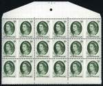 1963 5d Green QEII full Plate No 1 with dashes and near complete Plate No 2 blocks of 18 from booklet sheet MUH. Plate 2 block with Retouch to crosshatching from hair to oval at right state II with additional retouched lines in oval at angle of Queen's neck and hair variety. ACSC 400za and zb with variety ha.