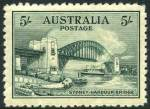 1932 5/- Green Sydney Harbour Bridge MUH and well centered with light gum crease and thinned top right corner perf.