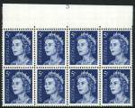 1967 5¢ Blue QEII upper part Plate No 3 (75%) block of 8 MUH and well centered. ACSC 444zb. Catalogue Value $1,000.00.